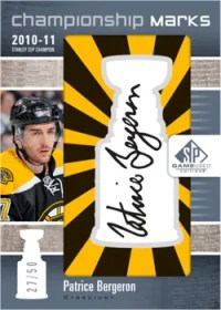 2011-12 Upper Deck SP Game Used Championship Marks Patrice Bergeron Autograph Card #/50