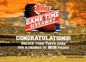 2012 Topps Football Game Time Giveaway Code Card