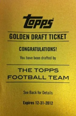 2012 Topps Golden Draft Ticket Redemption Card