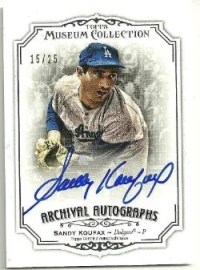 2012 Topps Museum Collection Archival Autograph Sandy Koufax Card #/25