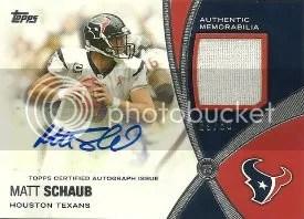 2012 Topps Prolific Playmakers Matt Schaub Autograph Relic Card