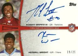 2012 Topps Robert Griffin III - Kendall Wright Dual Autograph Card