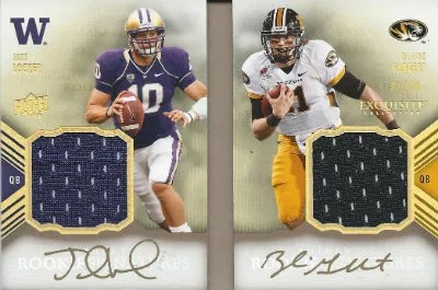 2012 Upper Deck Exquisite Blaine Gabbert - Jake Locker Dual Jersey Autograph Book Card