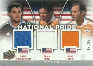 2012 Upper Deck MLS National Pride Triple Jersey #NP-USA2 Chris Wondolowski - Brian Ching - Brad Davis