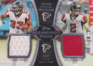 2012 Topps Paramount Pairs Matt Ryan and Michael Turner Dual Jersey Card #/50