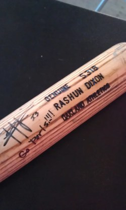 Rashun Dixon Game Used Autograph Bat