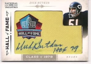 2011 Playoff National Treasures Embroidered HOF Patch Dick Butkus Autograph Card