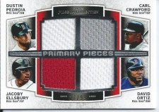 2012 Topps Museum Collection Quad Red Sox Jerseys
