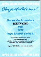 2012 Topps Baseball Sketch Card Redemption