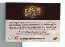 2012 Upper Deck Andrew Luck Autograph Gold Redemption Back