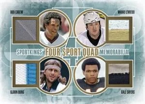 2012 Sportkings Series E Four Sport Quad Memorabilia Card