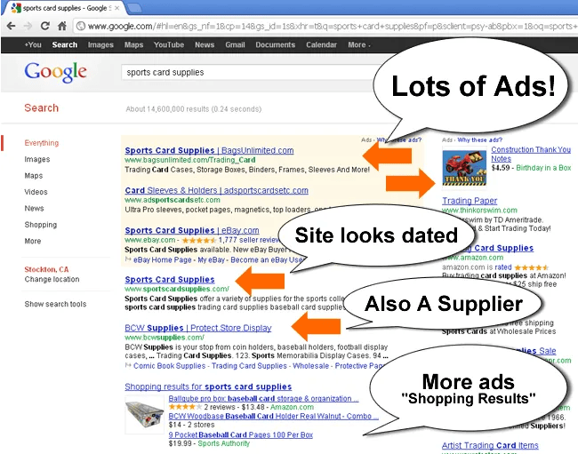 Sports Card Supplies Google Search Result Above Fold
