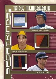 2012 Sportkings Series E Triple Memorabilia Card #TM-01 Alomar, Winfield, Molitor Jersey