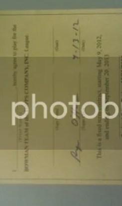 2012 Bowman Baseball Player Contract