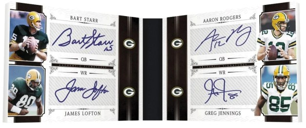 2011 Panini National Treasures Quad Autograph Book Card Bart Starr - James Lofton - Aaron Rodgers - Greg Jennings
