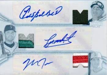 2012 Topps Triple Threads White Whale 1/1 Mike Trout Yoenis Cespedes Jesus Montero Patch Auto