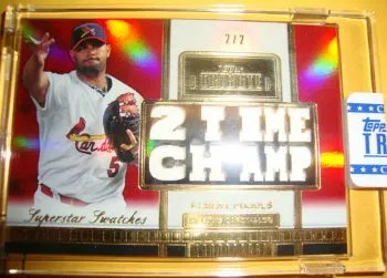 2012 Topps Tribute Baseball Super Star Swatches Albert Pujols #2/2