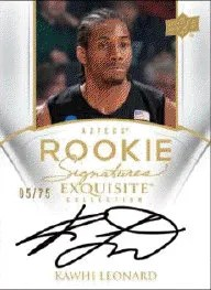 2011-12 Kawhi Leonard SP Authentic Autograph RC Card