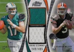 2012 Topps Prime Dual Brandon Weeden - Ryan Tannehill Material Card