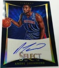 2012/13 Panini Select Andre Drummond Black Autograph RC