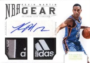 12/13 Panini National Treasures Kevin Martin NBA Gear Laundry Tag Autograph