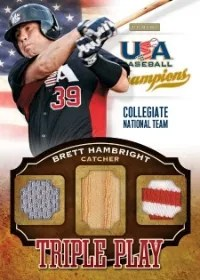 2013 Panini USA Baseball Champions Triple Play Brett Hambright