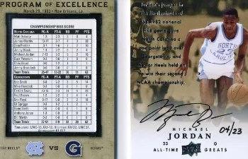 2012-13 Upper Deck All Time Greats Michael Jordan Program of Excellence Auto
