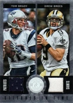 2012 Panini Totally Certified Drew Brees - Tom Brady Stitches in Time Dual