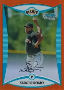 2008 Bowman Chrome Orange Refractor Sergio Romo RC #/25