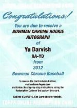 2012 Bowman Chrome YU Darvish