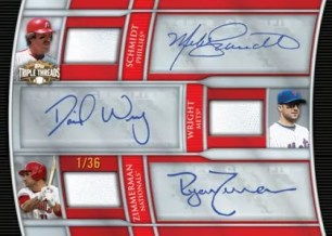2010 Topps Triple Threads Relic Combo Wright Schmidt Zimmerman