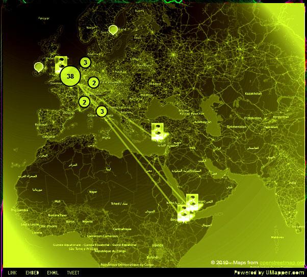 Les voyages de Rimbaud - sur la carte