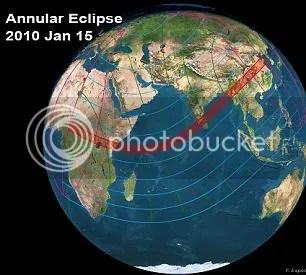 Wilayah yang dilintasi gerhana matahari 15 Januari 2010