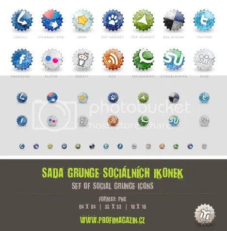 Set of social grunge icons