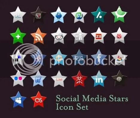 Social Media Stars Icon Set