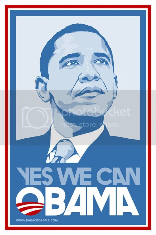 Barack Obama Yex We Can Poster in Light Blue Cutout