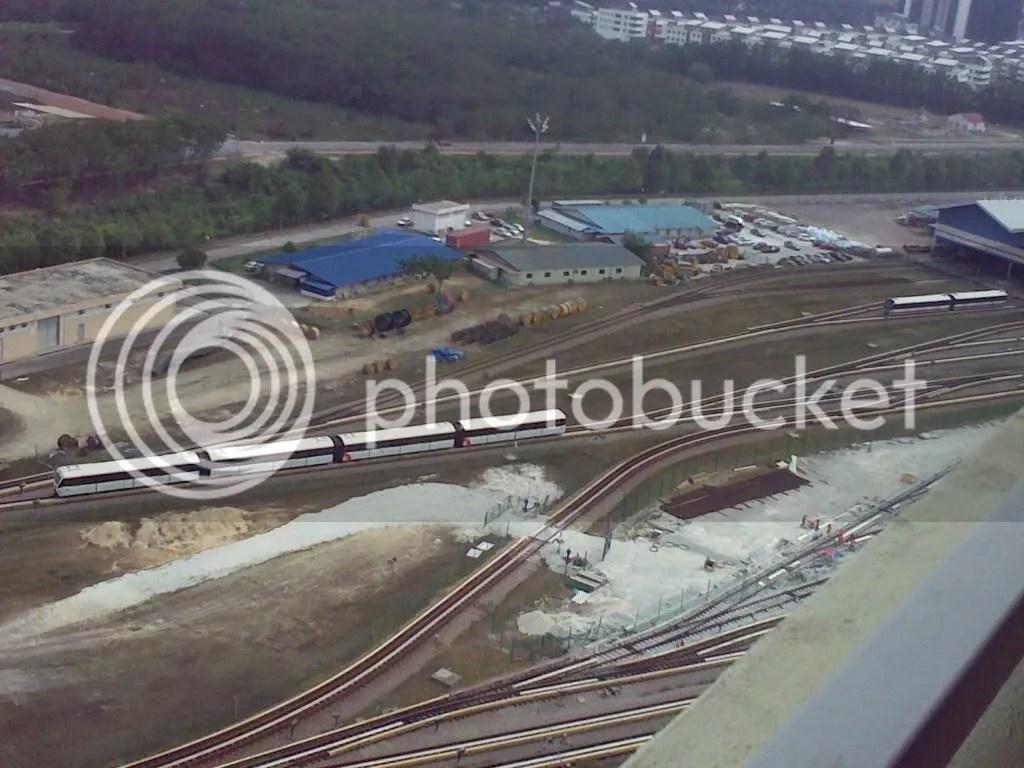 a 4-carriage and 2-carriage Kelana Jaya line train at the Lembah Subang Depot - courtesy of KKKhor