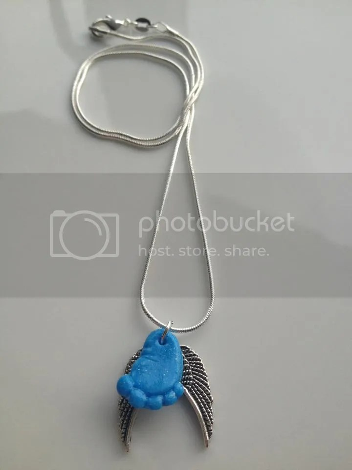 Blue Fimo Footprint Silver Angel Wing Necklace