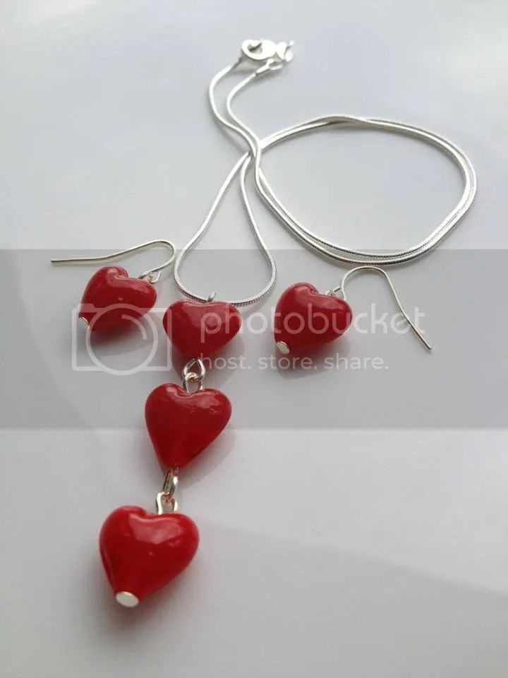 Shellybobbins Red Heart Beaded Necklace and Earrings Jewellery