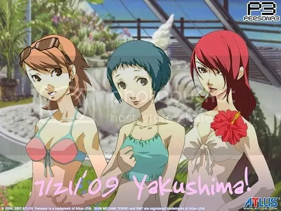 Yukari, Fuuka, and Mitsuru in their bathing suits.