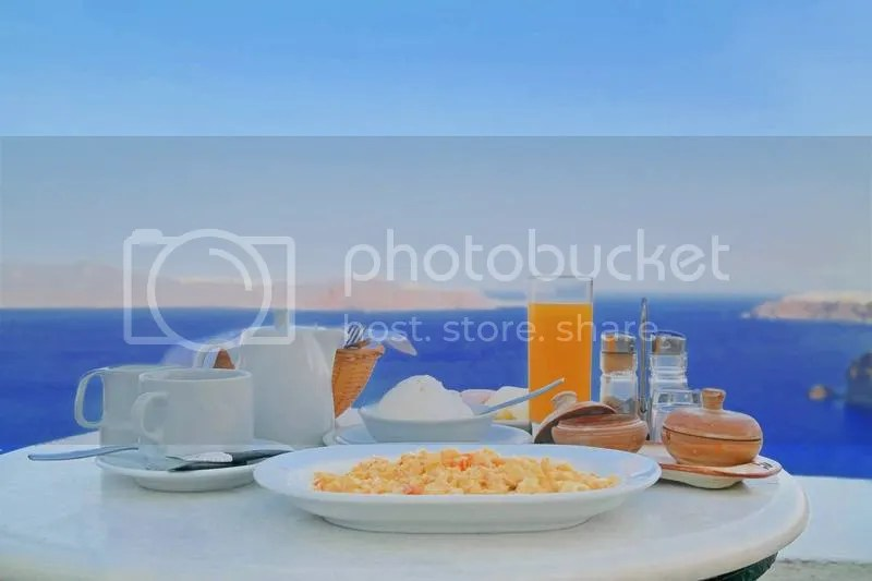 Breakfast at Fira, Santorini, Greece
