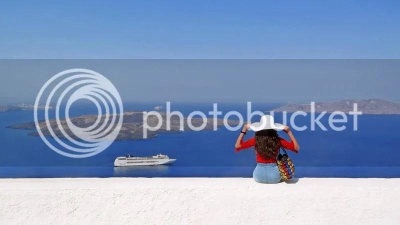 Caldera viewpoint at Firostefani, Santorini, Greece