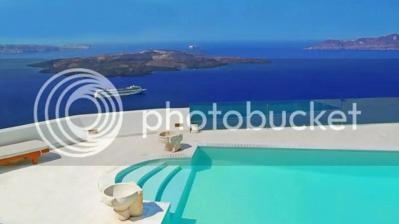 Swimming pool at Firostefani, Santorini, Greece