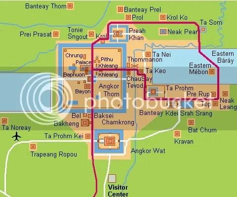Map of Angkor, Siem Reap, Cambodia