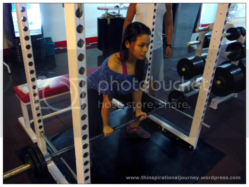 Lra NOvales lifting weights at the Eclipse Gym Manila