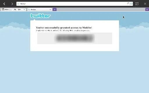 Kode aktivasi pada Moblin untuk mengakses Twitter