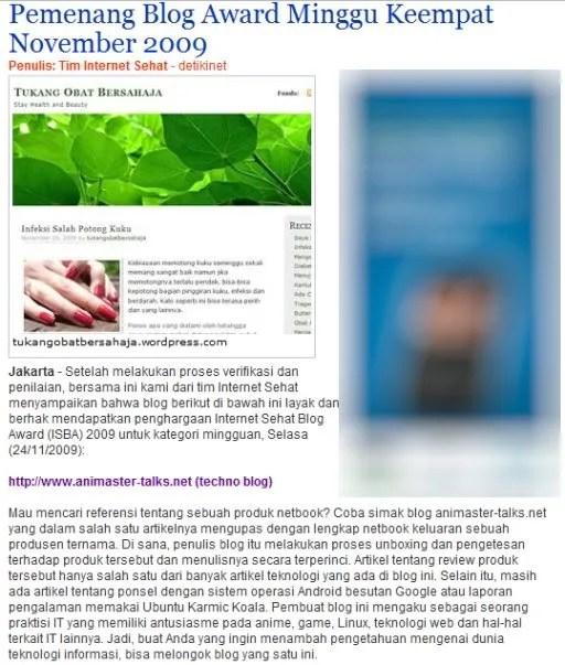 Internet Sehat Blog Award 2009 Minggu IV November