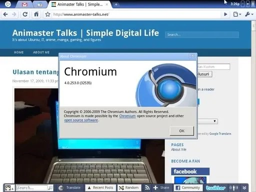 Tampilan browser Chromium OS