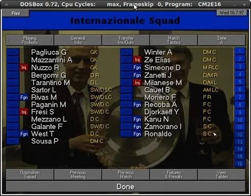 Championship Manager 97/98 dengan DOSBox pada Ubuntu