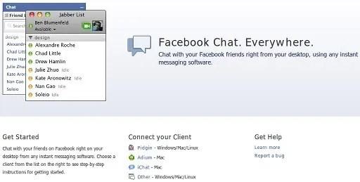 Dukungan protokol XMPP-Jabber pada Facebook Chat